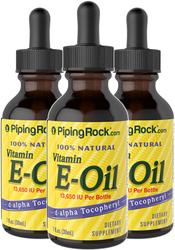 100% Natural Vitamin E-Oil 13,650 IU 3 Dropper Bottles x 1 fl oz