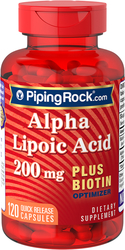 Alpha Lipoic Acid 200mg plus Biotin 120 Capsules