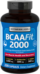 BCAAFit 2000, 2000 mg (per serving), 200 Capsules