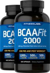 BCAAFit 2000, 2000 mg (per serving), 400 Capsules x 2 Bottles