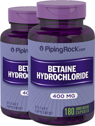 Betaine HCl 400 mg 2 Bottles x 180 Capsules