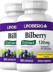 Bilberry Extract Standardized, 120 mg, 180 Capsules x 2 Bottles