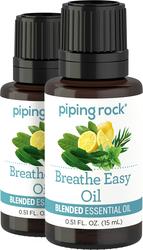 Breathe Easy Essential Oil Blend 2 Dropper Bottles x 1/2 oz (15 ml)