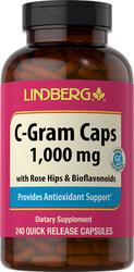 C-Gram 1000 mg with Rose Hips & Bioflavonoids, 240 Capsules