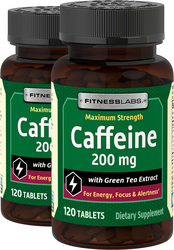 Caffeine 200 mg with Green Tea Extract, 120 Tabs x 2 bottles