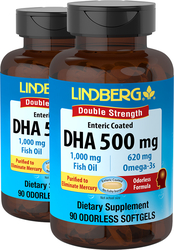 DHA Enteric Coated 500 mg, 90 Softgels x 2 Bottles