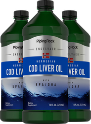 Cod Liver Oil Plain Norwegian  3 Bottles x 16 fl oz