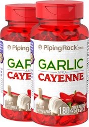 Garlic 500 mg & Cayenne 250 mg 2 Bottles x 180 Capsules