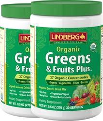 Greens & Fruits Plus Organic 9.5 oz x 2 Bottles