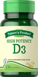 High Potency Vitamin D3 1000 IU, 1000 IU, 100 Softgels