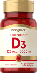 High Potency Vitamin D3 5000 IU 100 Softgels
