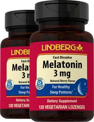 Melatonin Fast Dissolve (Natural Berry), 3 mg, 120 Lozenges x 2 Bottles