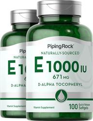 100% Natural Vitamin E-1000 IU   2 Bottles x 100 Softgels