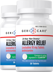 Non-Drowsy Allergy Relief Loratadine 10 mg, 30 Tablets x 2 Bottles