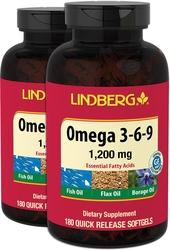 Omega 3-6-9 Fish, Flax & Borage, 1200 mg, 180 Softgels x 2 Bottles