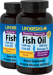 Fish Oil Regular Strength (Lemon) 1000 mg, 180 Sg x 2 bottles