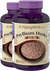 Psyllium Husks 510mg 2 Bottles x 250 Capsules