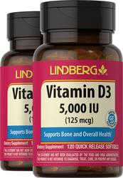 Vitamin D3 5,000 IU, 120 Softgels x 2 Bottles