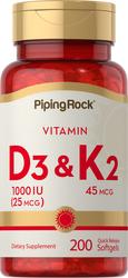 Vitamin D3 & K-2, 45 mcg, 200 Quick Release Capsules