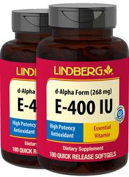 Vitamin E-400 IU (d-Alpha Tocopherol), 268 mg, 180 Softgels x 2 Bottles